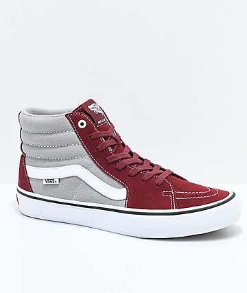 Vans Sk8-Hi Pro Cabernet, Grey & White Skate Shoes