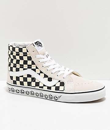 Vans Sk8-Hi Reissue BMX White & Black Checkerboard Skate Shoes
