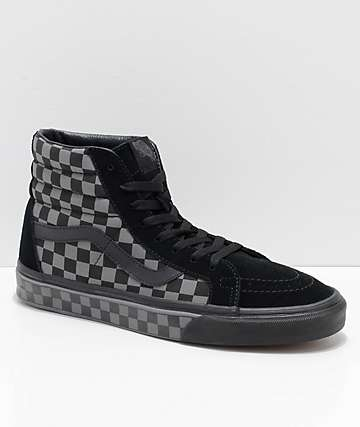 Vans Sk8-Hi Reissue Black & Pewter Checkered Skate Shoes