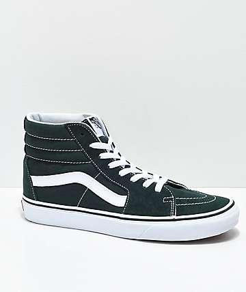 Vans Sk8Hi Scarab Green  White Skate Shoes