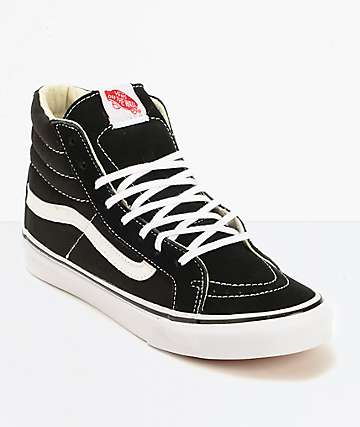 ebf9c39388cedd Vans Sk8-Hi Slim Black   True White Shoes