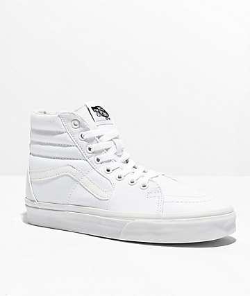 Vans Sk8-Hi True White Canvas Skate Shoes
