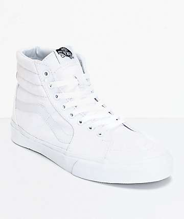 4372b2f51a19 Vans Sk8-Hi True White Canvas Skate Shoes