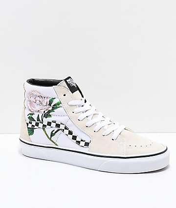 Vans Sk8-Hi Turtle Dove zapatos de skate de ante floral de cuadros