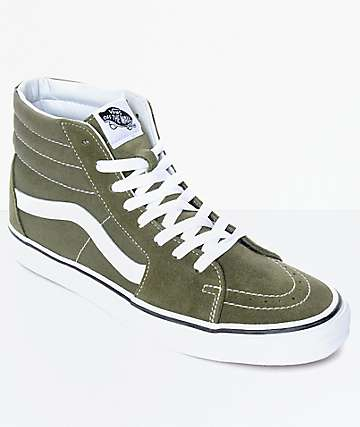 Vans Sk8-Hi Winter Moss Green & White Skate Shoes