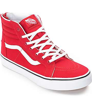 Vans Sk8-Hi Zip Racing Red Boys Skate Shoes