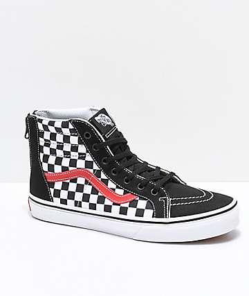 Vans Sk8-Hi zapatos de skate con cremallera a cuadros en negro y rojo