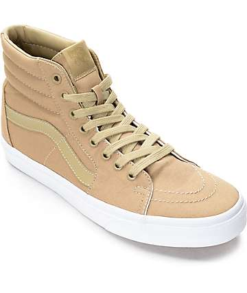 Vans Sk8-Hi zapatos de skate en caqui y blanco