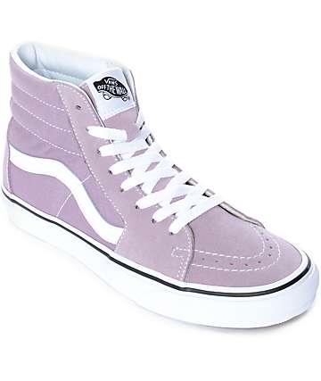 Vans Sk8-Hi zapatos de skate en morado pastel y blanco