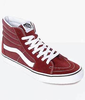 Vans Sk8-Hi zapatos de skate en rojo marrón y blanco