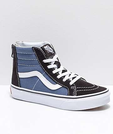 Vans Sk8-Hi zapatos de skate para niños con cremallera en añil y negro