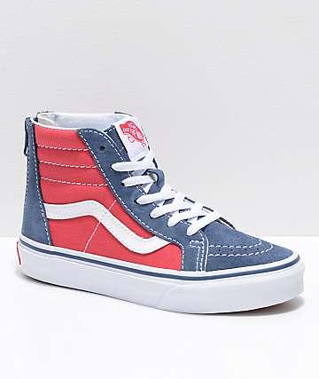 Vans Sk8-Hi zapatos de skate para niños con cremallera en azul y rojo