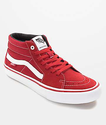 Vans Sk8-Mid Pro Scarlet Red & White Skate Shoes