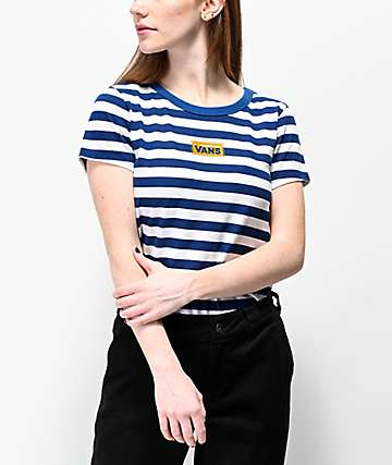 b300e9f6f2 Vans Skimmer Blue   White Stripe Crop T-Shirt