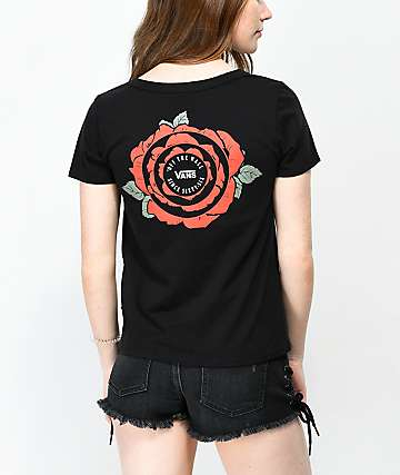 Vans Skimmer Red Rose Black T-Shirt
