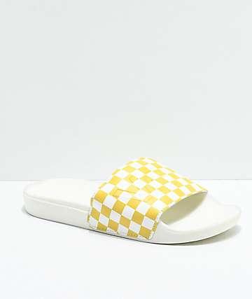 Vans Slide-On sandalias a cuadros en amarillo