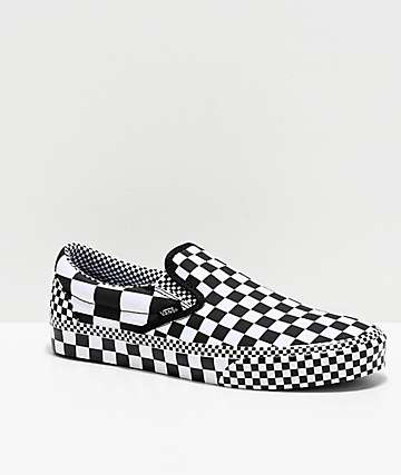 Vans Slip-On All Over Checkerboard Black & White Skate Shoes
