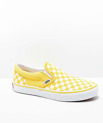 ab00cf604f3679 Vans Slip-On Aspen Gold   White Checkered Skate Shoes