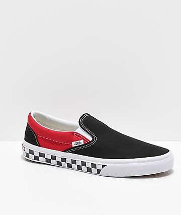 Vans Slip-On BMX Black, Red & White Checkered Skate Shoes