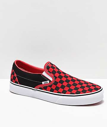Vans Slip-On Black & Formula Red Checkerboard Skate Shoes