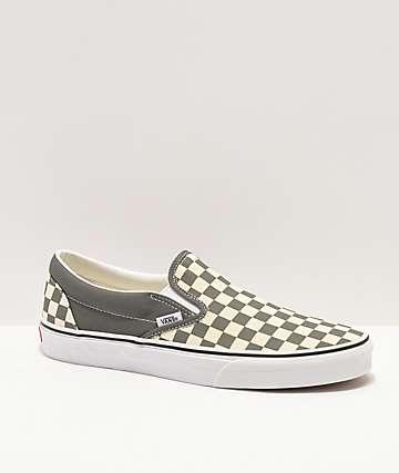 ebd38f82cc Vans Slip-On Black   Pewter Checkered Skate Shoes