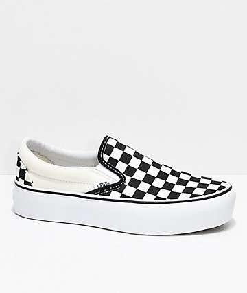 ca35d3faa Vans Slip-On Black   White Checkered Platform Shoes