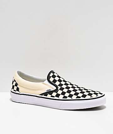 b1d192f8f7fd85 Vans Slip-On Black   White Checkered Skate Shoes