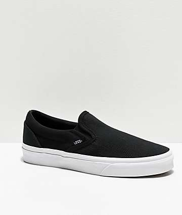 Vans Slip-On Black Herringbone Skate Shoes
