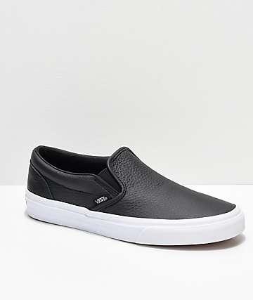 673a5161e9b Vans Slip-On Black Tumbled Leather Skate Shoes