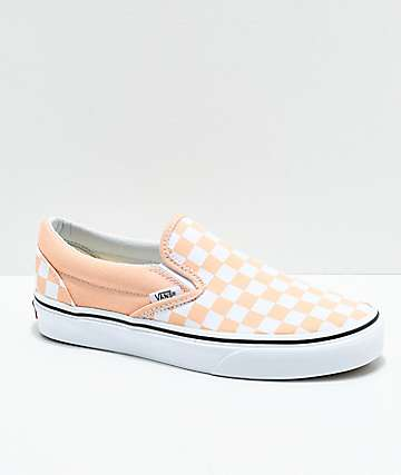 Vans Slip-On Bleached Apricot zapatos de skate a cuadros