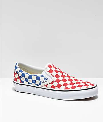e5b5031102 Vans Slip-On Blue   Red Checkerboard Skate Shoes