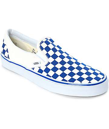 vans slip on trainers in pastel blue checkerboard