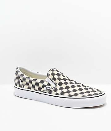 6b2cd4661a38e2 Vans Slip-On Blur Black   White Checkerboard Skate Shoes