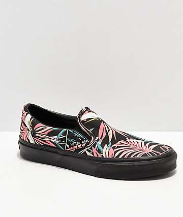 Vans Slip-On California Floral Black Skate Shoes