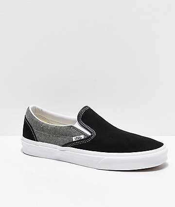 Vans Slip-On Chambray, Black & White Skate Shoes