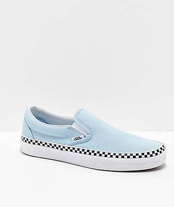 27a5cf4ad4a007 Vans Slip-On Check Foxing Blue   White Skate Shoes