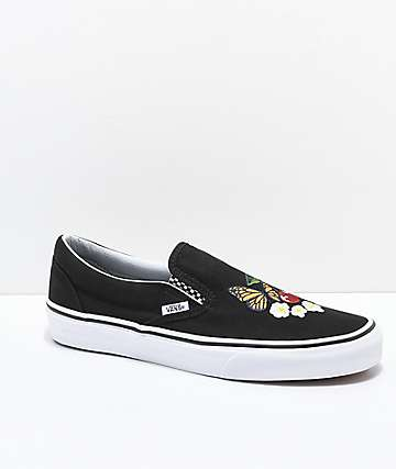 56535fc48df5 Vans Slip-On Checker Floral Black Skate Shoes
