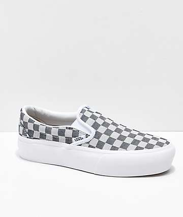 Vans Slip-On Checkerboard Denim Skate Shoes