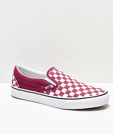 Vans Slip On Checkerboard Dry Rose & White Shoes