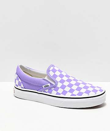 Vans Slip-On Checkerboard Violet & White Skate Shoes