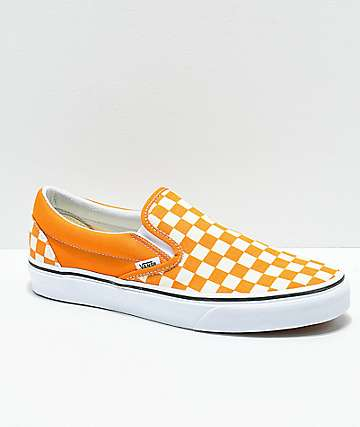 Vans Slip-On Cheddar & White Checkerboard Skate Shoes