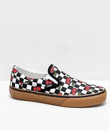 Vans Slip-On Cherry Black   Gum Checkered Skate Shoes 044dcff41