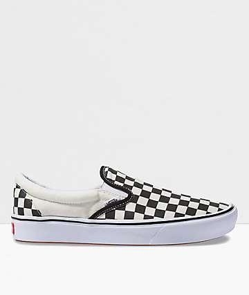 Vans Slip-On ComfyCush Black & White Checkerboard Skate Shoes