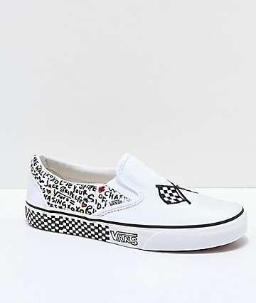 slip on vans white