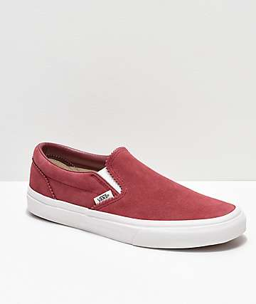222672a6145 Vans Slip-On Dark Pink   White Skate Shoes