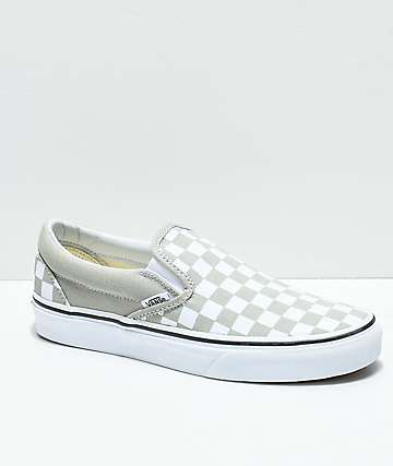 895ed2e9427 Vans Slip-On Desert Sage   True White Checkerboard Skate Shoes