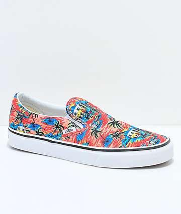 Vans Slip-On Dystopia zapatos de skate en rojo, azul y blanco