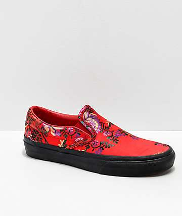 b3d4fea295 Vans Slip-On Festival Satin Red Skate Shoes