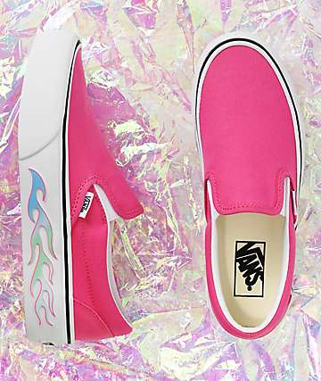 Vans Slip-On Flame Pink Platform Skate Shoes