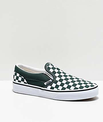 Vans Slip-On Forest Green & White Checkerboard Skate Shoes